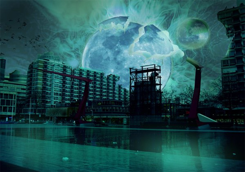 Matte painting: moon explosion
