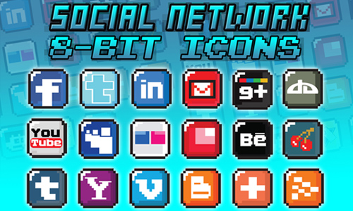 8-Bit Social Media Icon Blocks