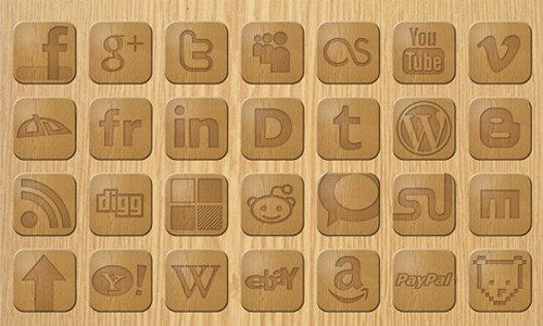 Wooden Web Icons