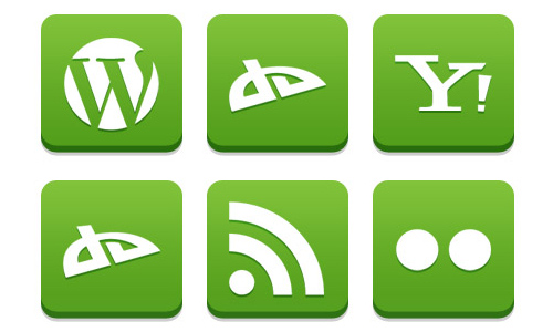 13 green social icon set