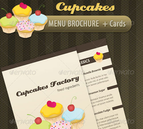 Cupcakes Bakery Menu Brochure