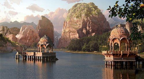 Water Temples-Matte Painting