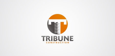 tribune construction logo design