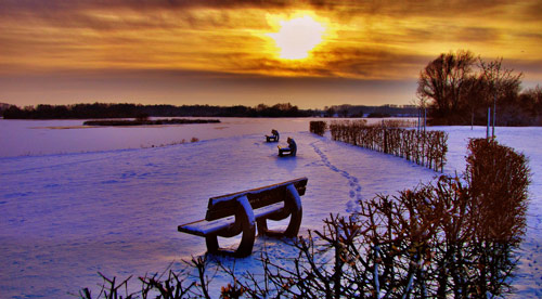 Very Romantic Scene Winter Photo