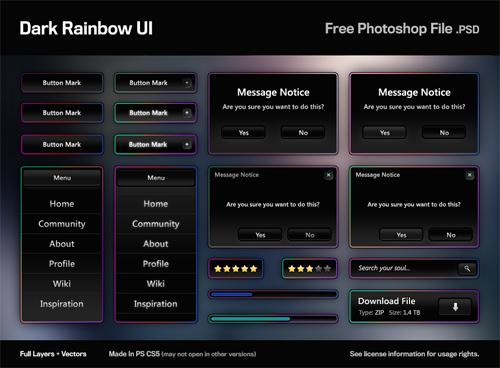 Dark Rainbow UI: Free PSD
