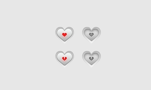 The Heart Buttons PSD