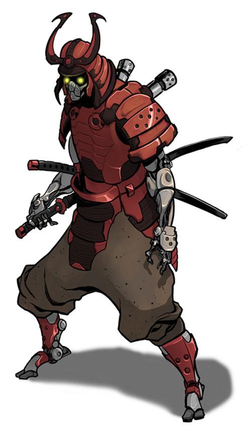 cyborg samurai+weird critter