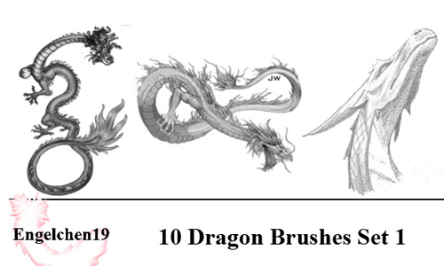 10 neu Dragon Brushes PS 7