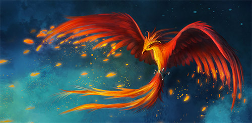 flying phoenix illustration