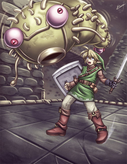Zelda - Link and Moldorm fight