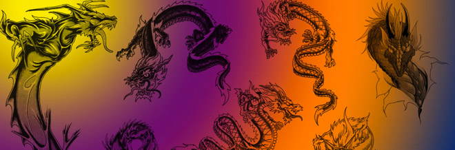 30 Collection of Dragon Photoshop Brushes