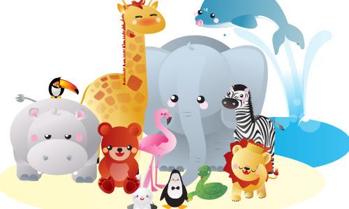 Free Vector Kawaii Zoo Animals