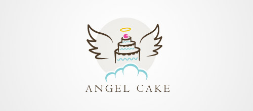 angel cake logo design