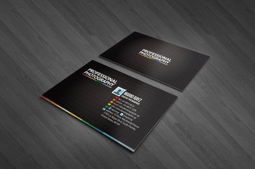 Elegant Black Photography Business Card