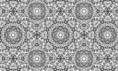flower fractal black white patterns