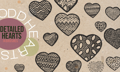 Detailed Hearts Brushes