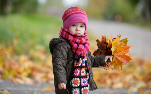 Cute Baby in Autumn