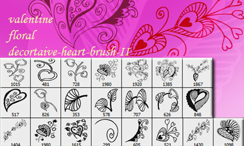 Valentine Floral Heart Brush