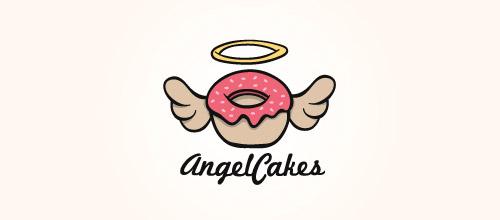 wings donut cake logo design