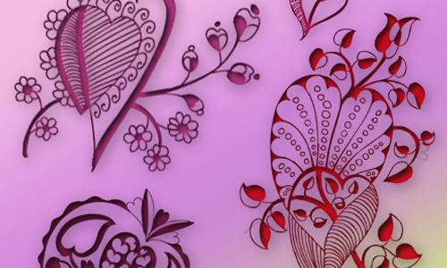 Valentine Floral Heart Brush 2
