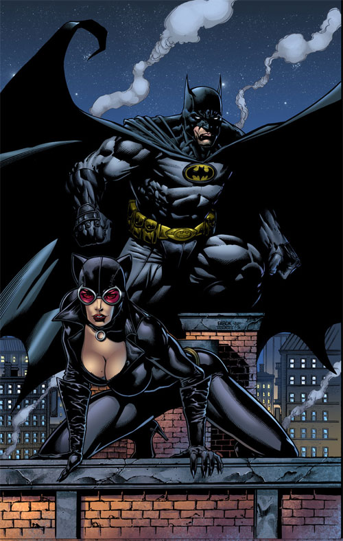 Batman and Catwoman pin up