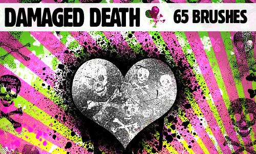 Damaged Skulls Heart Brushes
