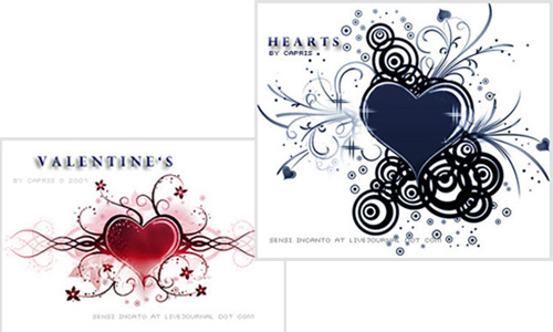 Hearts and Valentines Photoshop Brushes