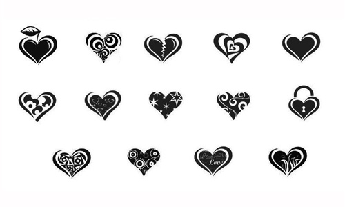 10 Heart brushes pack