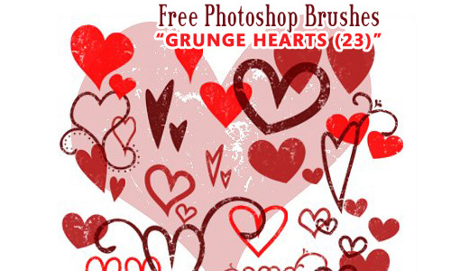 Grunge Heart Brushes Photoshop