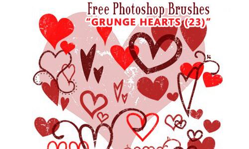Grunge Heart Brushes Photoshop