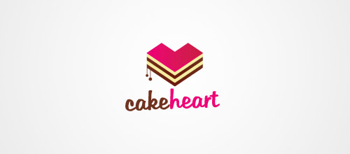 cake heart logo design