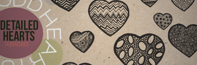A Collection of 43 Hearts and Valentine PS Brushes