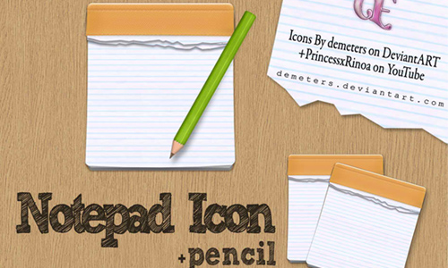 Notpad icon+ pencils