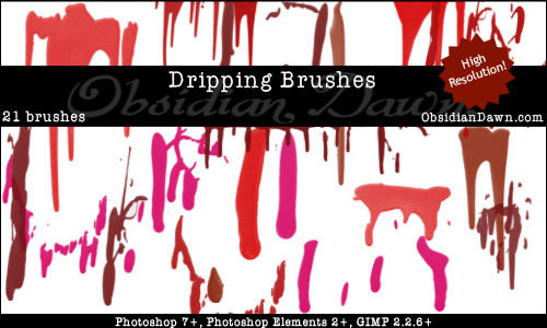 Set of Drip Photoshop Brushes
