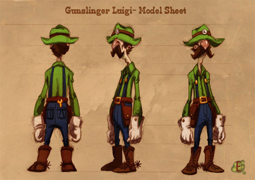 Gunslinger Luigi Model Sheet