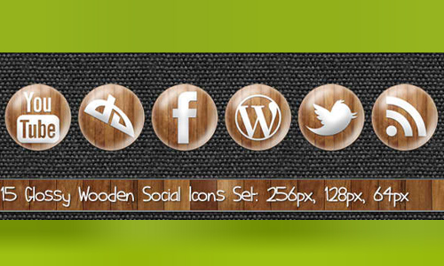 Glossy Wooden Social Icons
