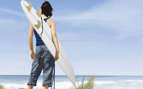 Surfer watching wallpapers