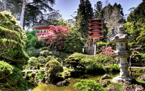 Japanese Tea Garden HDR Wallpaper