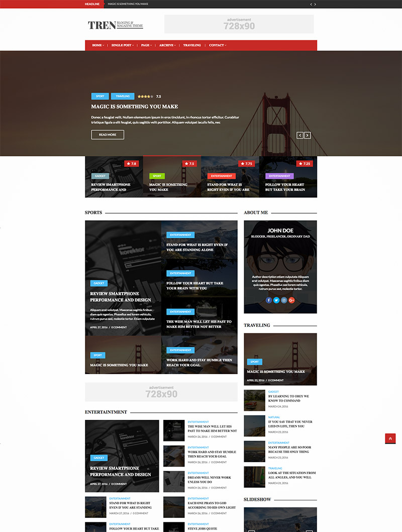 blog magazine theme