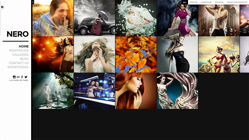 photography themes layout