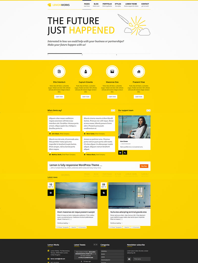 yellow website theme