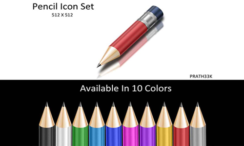 Shiny Pencil Icon Set