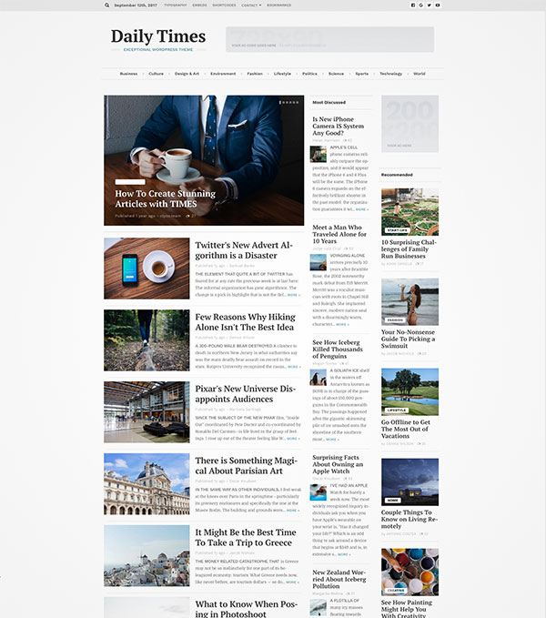 newspaper magazine theme