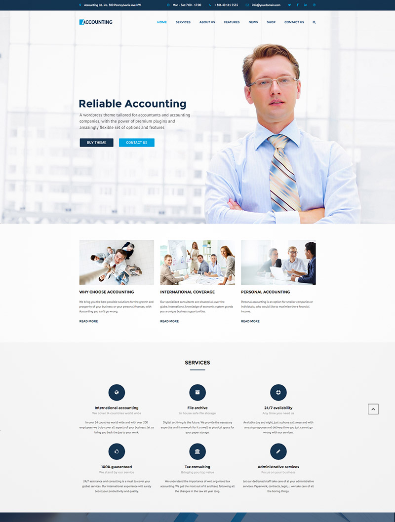 accounting website theme