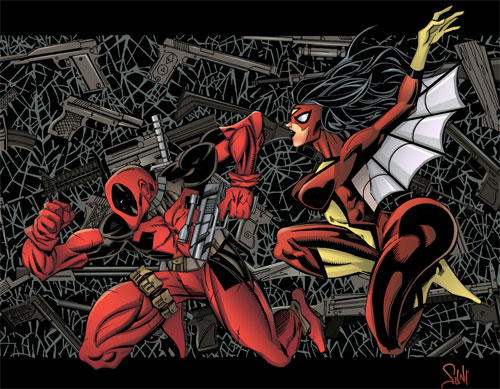 deadpool and spiderwoman