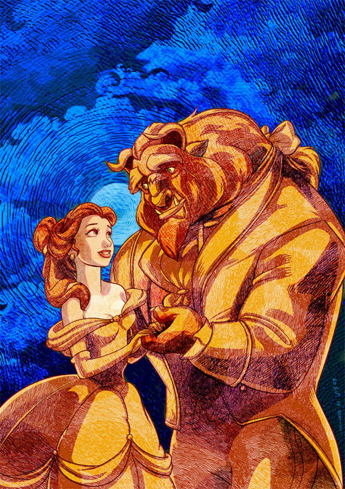 Beauty and the Beast Etched