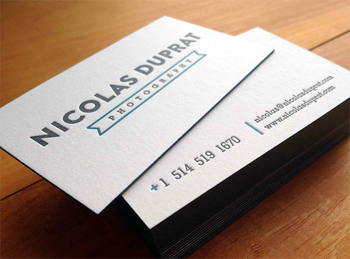 Letterpress Business Cards - Photography