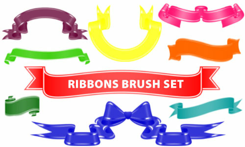 18 Curly Ribbon Clip Art Photoshop Brushes