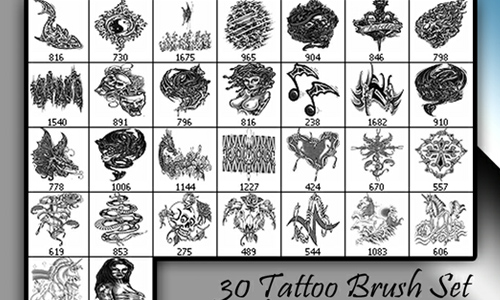 30 Tattoo brush set V