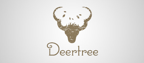 deer tree logo design